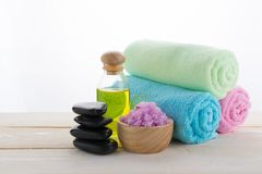 Spa object on wood background Royalty Free Stock Photo