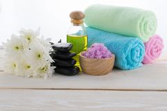 Spa object on wood background Stock Images