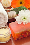 Spa objects. With towel sea salt soap brush and flower Royalty Free Stock Images