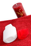 SPA objects. Aromatherapy candle and bath products Stock Image