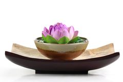 Spa objects. With lotus flower and bowl Royalty Free Stock Image