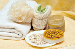 Spa objects. Handmade soap, towel, salt and so on -  spa objects Stock Images