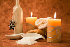 Spa objects. With candle, salt and towels Stock Images