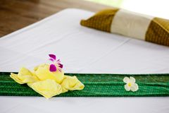 Spa objects. With tropical flowers and leaves Royalty Free Stock Images