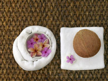 Spa objects. With tropica flowers on natural texture Royalty Free Stock Images