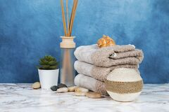 Free Spa Objects And Elements On A Marble Table And Blue Background Royalty Free Stock Photos - 187765948
