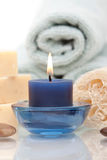 Spa objects with aromatherapy candle. Spa objects and aromatherapy candle on white background Royalty Free Stock Images