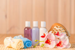 Spa objects close up. On a bamboo napkin Royalty Free Stock Image