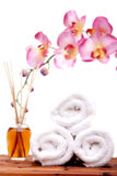 Spa objects with orchid Royalty Free Stock Images