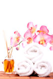 Spa objects with orchid Royalty Free Stock Photos