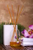Spa objects and orchid flower Royalty Free Stock Photo