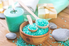 Spa objects. Sea salt and towels Royalty Free Stock Photo