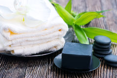 SPA objects. On a table, objects for massage Stock Photo