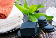 SPA objects. On a table, objects for massage Royalty Free Stock Photography