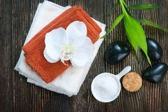SPA objects. On a table, objects for massage Stock Photography