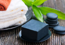 SPA objects. On a table, objects for massage Stock Photos