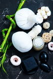 SPA objects. On a table, objects for massage Royalty Free Stock Photo