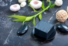 SPA objects. On a table, objects for massage Stock Image