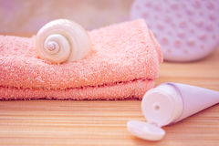 Daily spa objects, towel, masseur, shell, lotion Royalty Free Stock Image