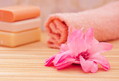 Daily spa objects, towel, soaps, pink flower Stock Images