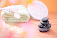 Daily spa objects, towels and lotion Stock Photo