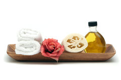 Spa objects in tray Royalty Free Stock Photos
