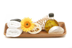 Spa objects in tray Stock Photos