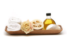 Spa objects in tray Royalty Free Stock Image