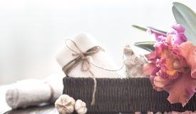Spa objekt med orkidén arkivfoto