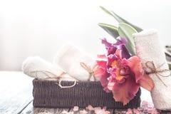 Spa objekt med orkidén royaltyfria bilder