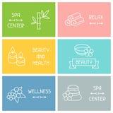 Spa och rekreationaffärskort med symboler in Arkivfoto