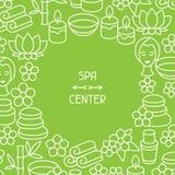 Spa och rekreationbakgrund med symboler i linjärt Arkivbild