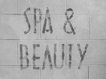 Spa och skönhetsignage Fotografering för Bildbyråer