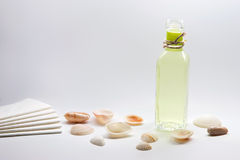 Spa oil. Bottle of essential oil for massage and body care in spa, surrounded by natural sea shells stock photos