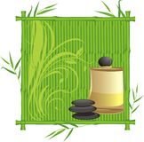 Spa oil in the bamboo frame Stock Image