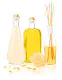 Spa oil bottles Royalty Free Stock Photos