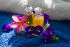 Spa oil and flower Royalty Free Stock Photo
