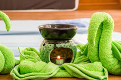 Spa oil lamps, folding cloth, spa massage room. Spa oil lamps, folding cloth, spa massage room royalty free stock image