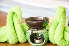 Spa oil lamps, folding cloth, spa massage room stock image