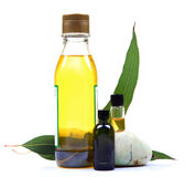 Spa oils. Spa oil bottles bottle with leaves isolated on white background royalty free stock photo