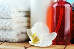 Spa oils and orchid Stock Images