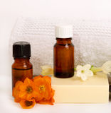 Spa oils. Spa still life with essential oils Royalty Free Stock Images
