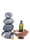 Spa oils and stones Stock Photos