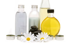 Spa oils, stones and candles Royalty Free Stock Photo