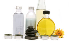 Spa oils, stones and candles Royalty Free Stock Photography