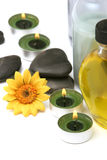 Spa oils, stones and candles Stock Images