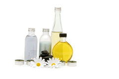 Spa oils, stones and candles Royalty Free Stock Photos