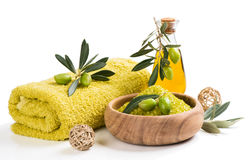 Spa olive setting Royalty Free Stock Photography