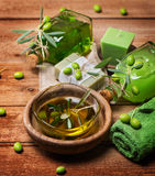 Spa of olive on a wooden bord Stock Image