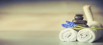 Free Spa Or Wellness Setting With Massage Equipment And Flowers, Front View Stock Images - 97450524